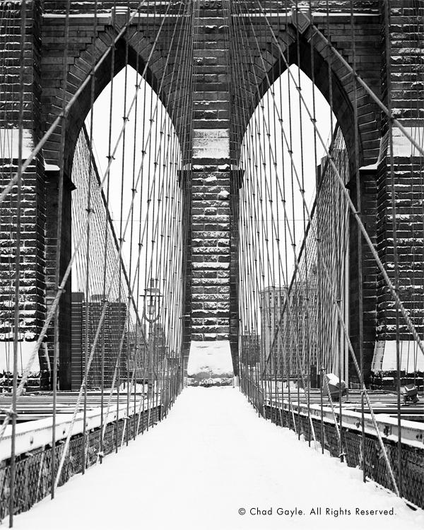 Snowy cathedral (Brooklyn Bridge)