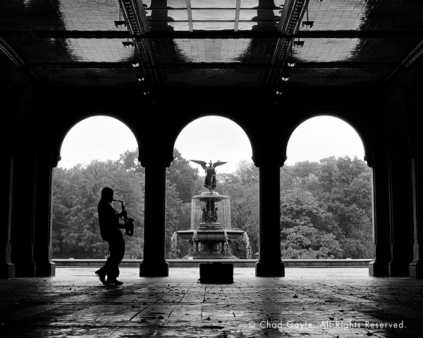 Sax player in the rain (Bethesda Fountain)