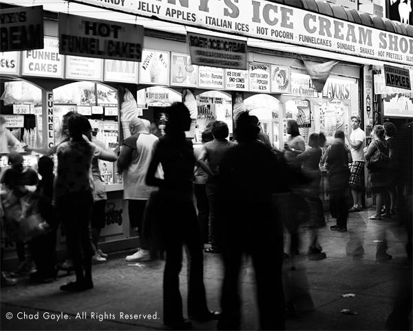 Getting ice cream at night, Coney Island