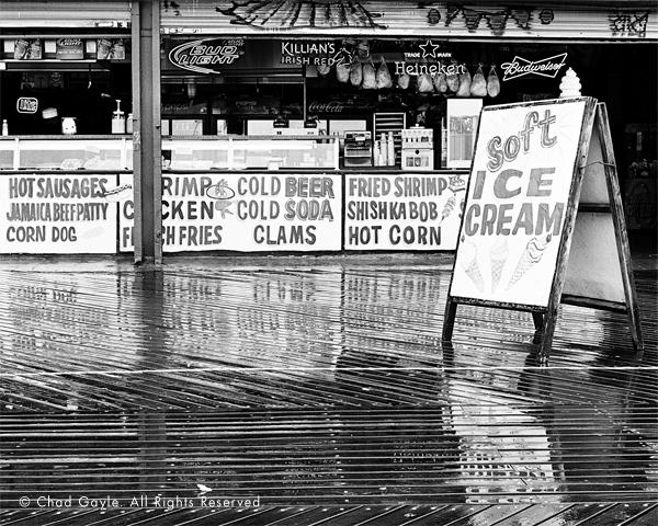 Coney Island's boardwalk on a rainy day