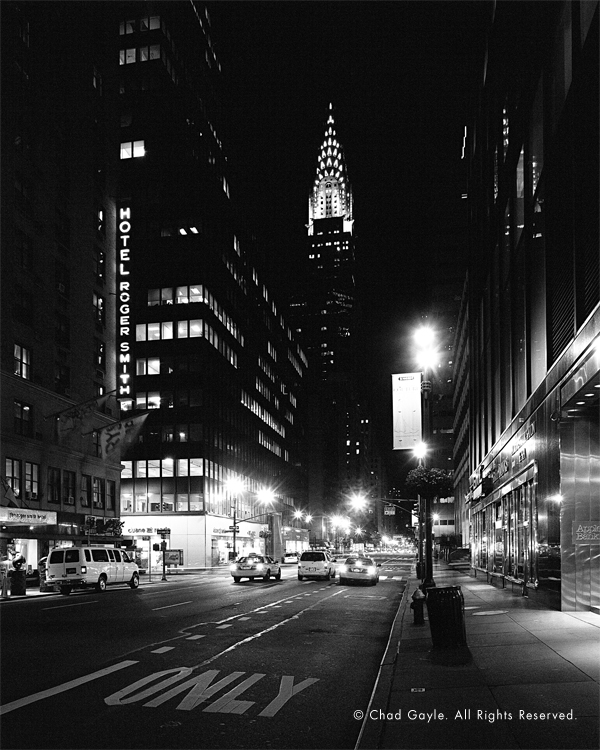 Lexington Ave at night, with the Chrysler Building