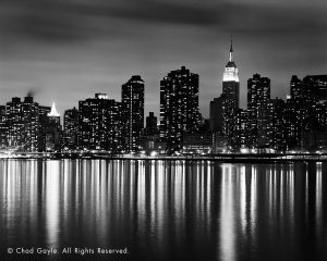 Manhattan skyline from the East River at night