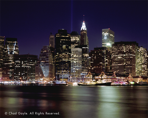 South Street Seaport at night (Manhattan skyline)