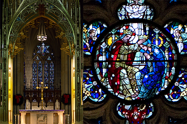 St. Patrick's Cathedral Interior Shot, Stained Glass Detail