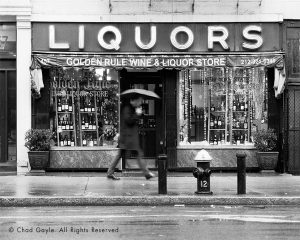Golden Rule Liquor Store on a rainy day, West Village