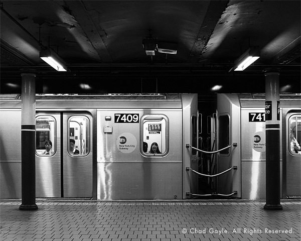 Subway departing Astor Place station in Manhattan