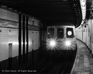 G train approaching the station (Brooklyn)